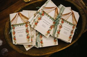 Rustic Ceremony Programs with Floral Details