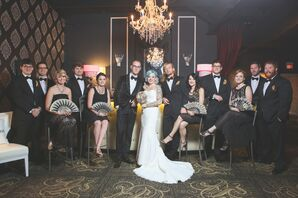 Vintage-Chic Bridal Party with Gold Fans