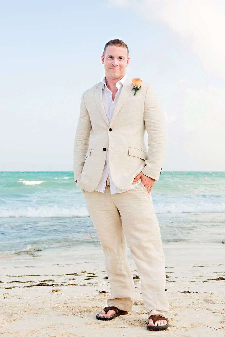 Sand Colored Linen Groom S Suit For