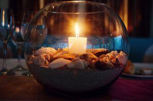 Sand, Seashell and Starfish Candlelit Table Centerpiece