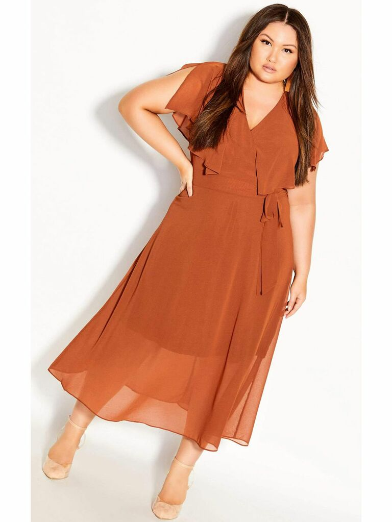 Rust wrap maxi dress with ruffle front