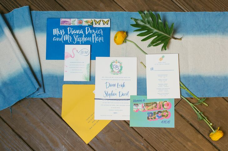 For Diana and Stephan's invites, calligrapher Natalie Soud incorporated flamingos, pineapples and a custom crest with iguanas.