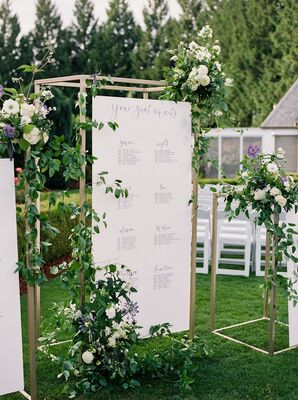 Elegant Seating Chart Sign with Gold Frame and Greenery