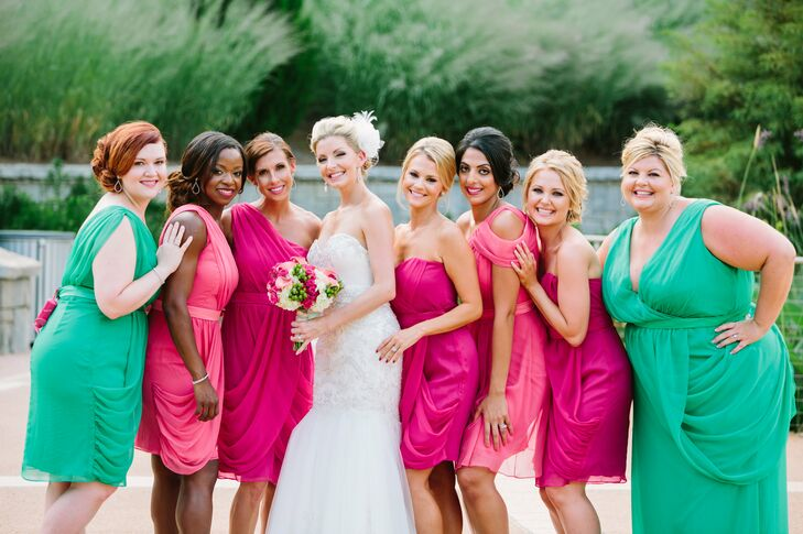 "Tanya's bridesmaids wore varying designs from the LeLa Rose in emerald and different shades of pink. ""know it sounds a bit unconventional but that's kind of what appealed to me,"" says Tanya. ""I also like the idea of them all not looking so identical."""