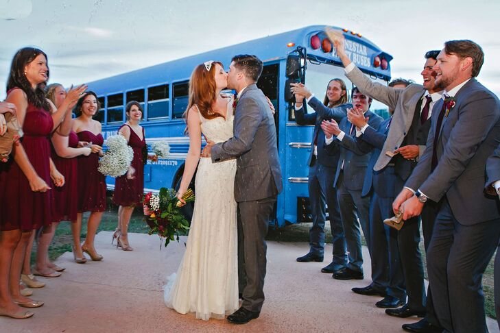 """It was a rip-roaring good time,"" Anika says of the reception at Montesino Ranch in Wimberley, Texas. Immediately after the ceremony, guests boarded a bus to the barn for cocktail hour and the reception."