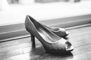Sparkling Silver Peep-Toe Heels