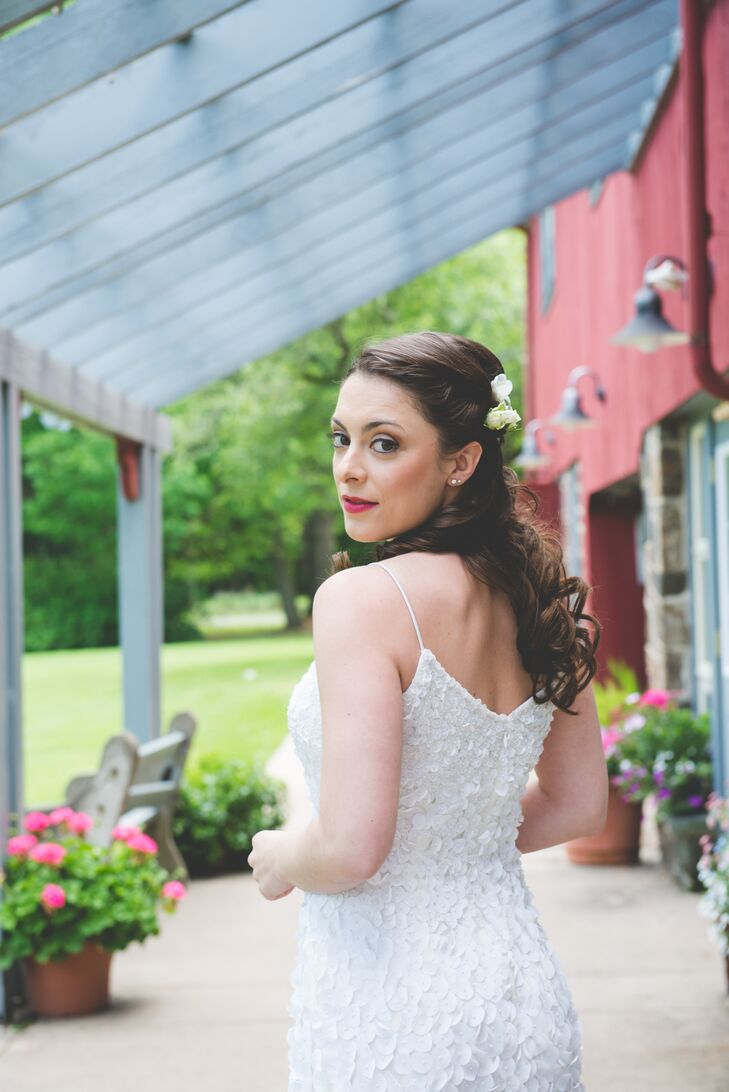 Nicole wore her hair down with her Theia Couture wedding dress.