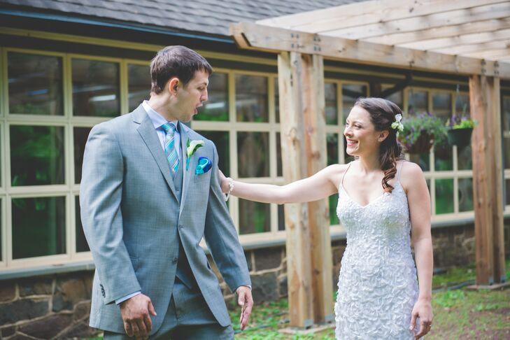 First Look at Bohemian Spring Wedding