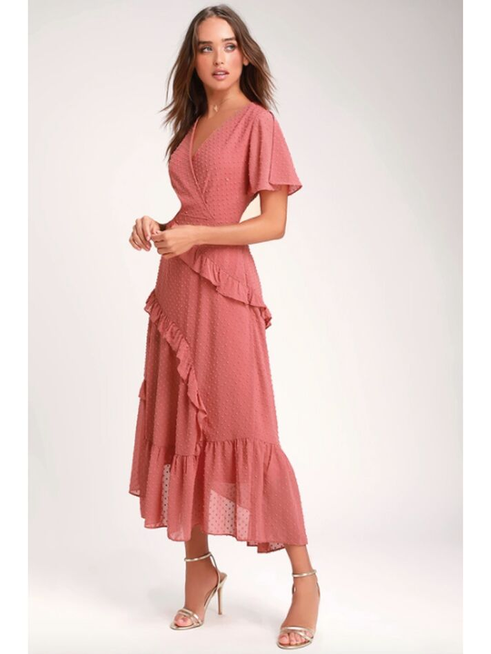 Pink tiered wrap maxi dress with Swiss dots