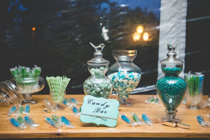 Nicole and Dan had a candy bar with only blue and white candies at their reception.