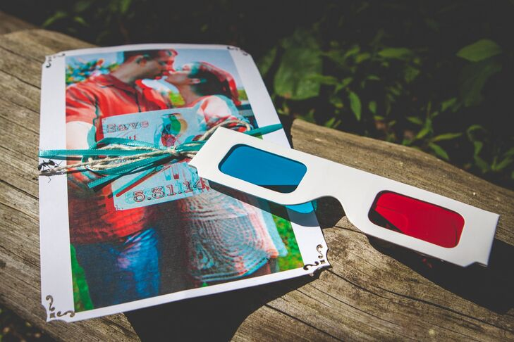 Nicole and Dan's save the dates required 3D glasses to properly view them.