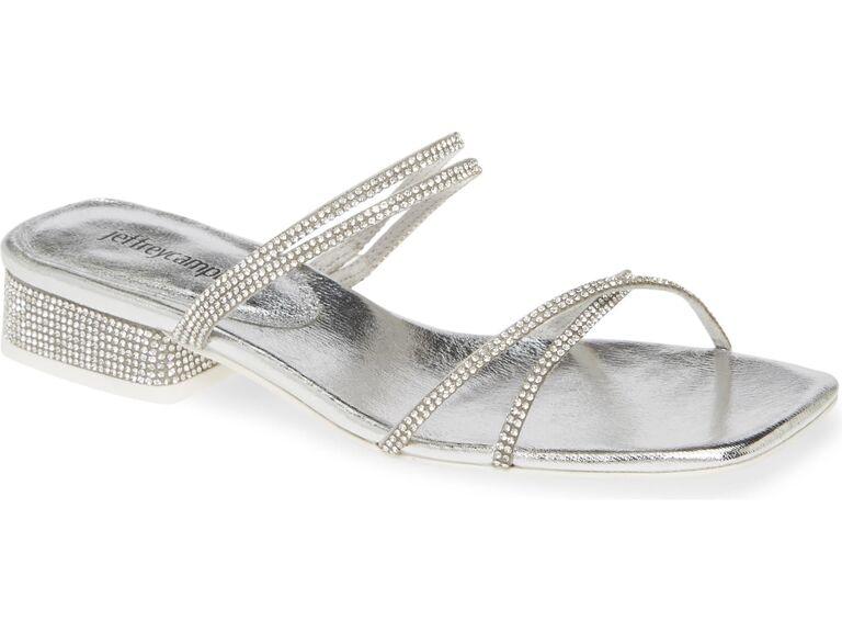 Silver rhinestone beach wedding shoes