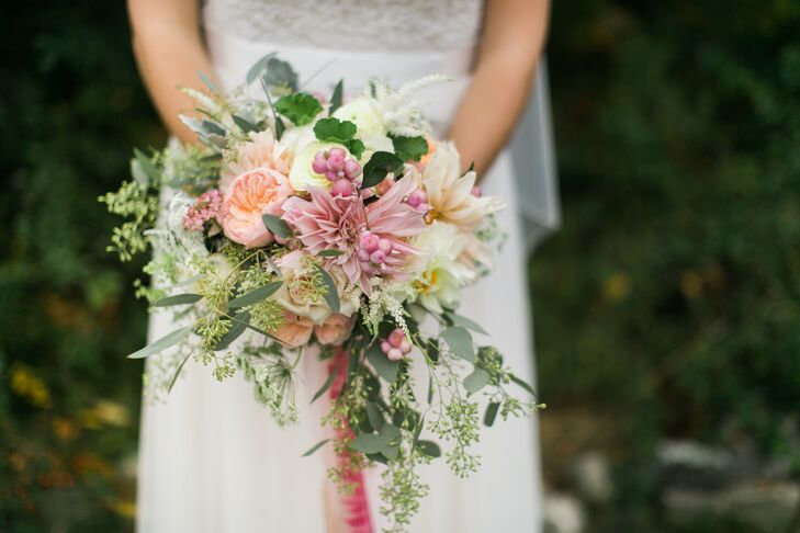 Rustic Garden Rose and Pink Dahlia Bridal Bouquet