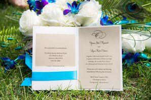 Pocket Fold Wedding Invitations with Blue Ribbon