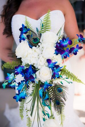 Blue Orchid, Peacock Feather and Fern Bridal Bouquet