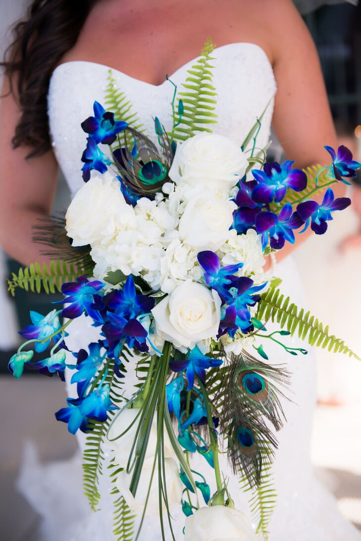 Blue Orchid Peacock Feather And Fern Bridal Bouquet