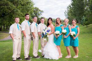 Turquoise Bridesmaid Dresses and Groomsmen Ties