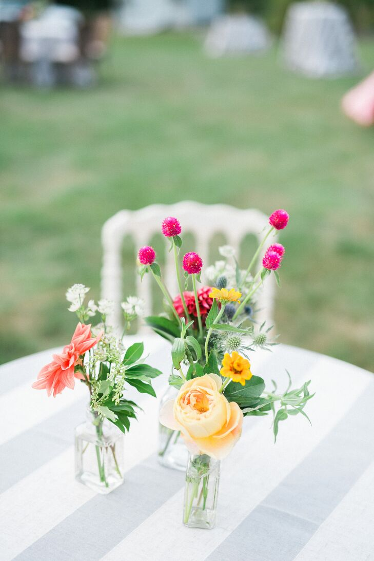 Bright Blooms Arranged Atop Striped Linens