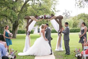 Rustic Wedding Arch With Draped Burlap