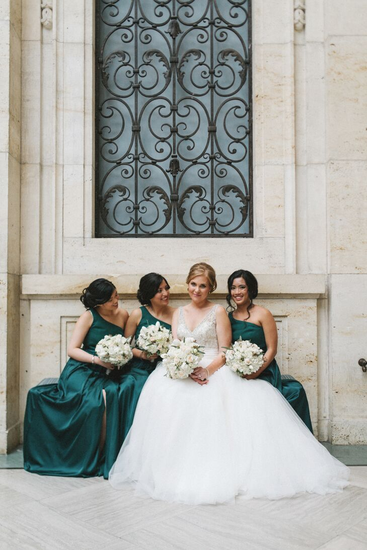 Glam Emerald One-Shoulder Bridesmaid Dresses