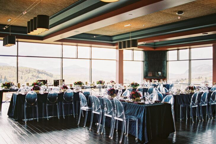 At the indoor reception at Peaks Resort and Spa in Telluride, Colorado, guests sat at long banquet tables