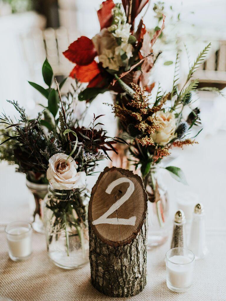 Fall wedding ideas wooden centerpiece