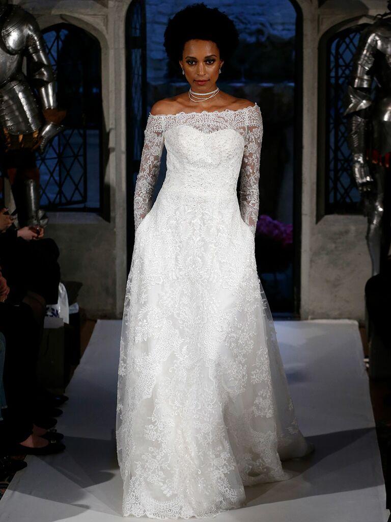 Oleg cassini spring 2018 collection bridal fashion week photos oleg cassini spring 2018 a line lace off the shoulder wedding dress junglespirit Images