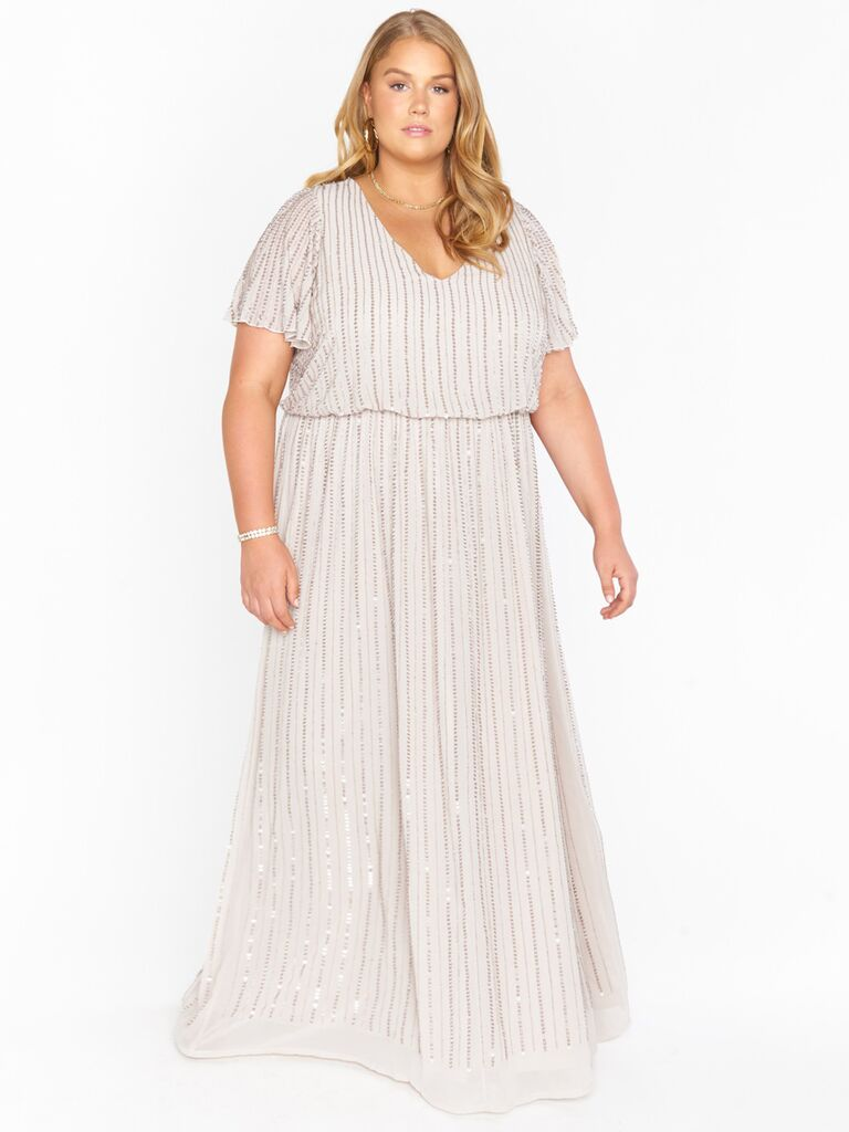 show me your mumu short sleeve grey beaded winter bridesmaid dress