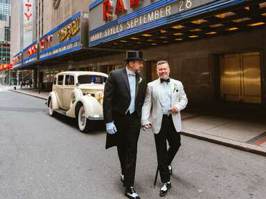 grooms in formal white tie tuxedos in New York City