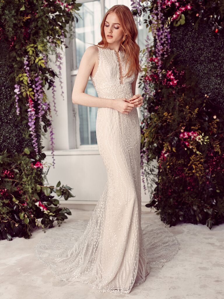 Alyne by Rita Vinieris Spring/Summer 2020 Bridal Collection fitted high-neck sheath beaded weddding dress