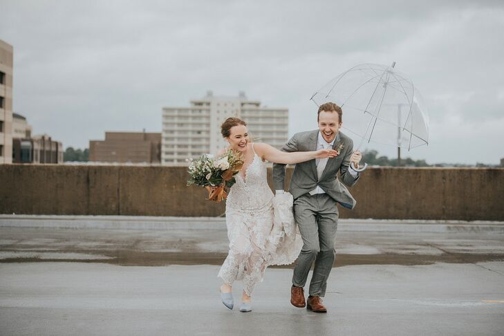 "Emma Pohlman and Austin Foster wed at The Theodore, a historic warehouse with exposed brick walls and an industrial aesthetic. ""When I walked into the"