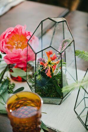 Terrarium Vase Filled with Bright Flowers