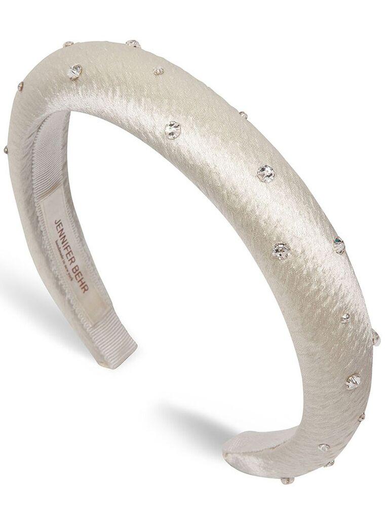 White padded and embellished headband