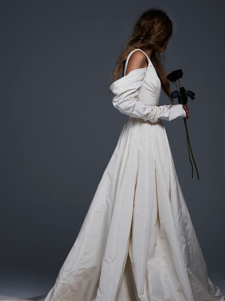 Vera Ivory Silk Faille Plunging V Neck Gown With D Skirt And Sleeves