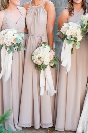 Wedding Party in Neutral Chiffon Dresses with Rose, Baby's Breath and Leaf Bouquets