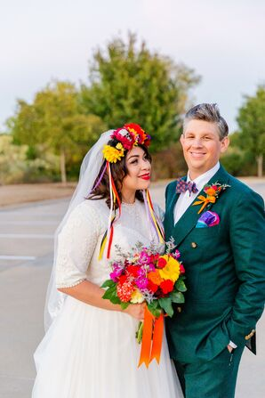 Eclectic Couple with Flower Crown, Colorful Bouquet and Green Suit