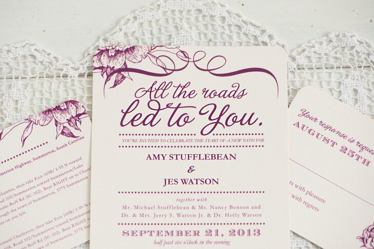 The bride and groom chose a purple invitation suite with the words All the roads led to you.