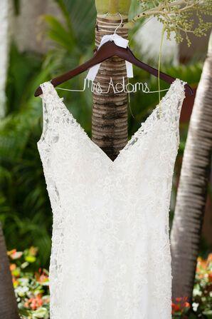Lace Wedding Dress with Light Satin Underlay