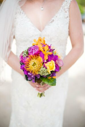 Bright Tropical Bridal Bouquet with Orchids