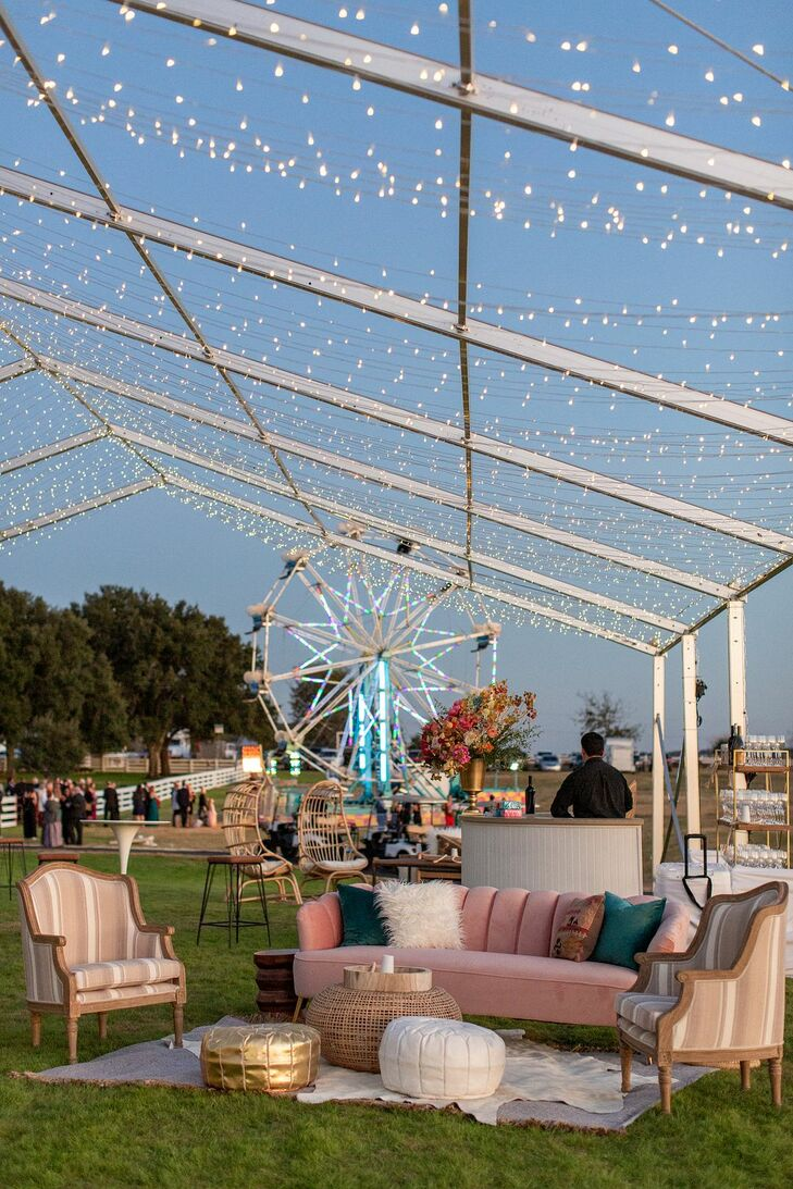 Outdoor Lounge Furniture, String Lights and Ferris Wheel