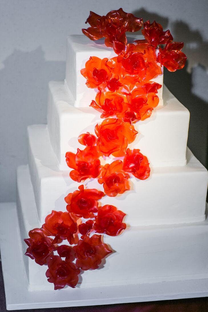 Tiered, Square Wedding Cake With Burnt Orange Sugar Flowers