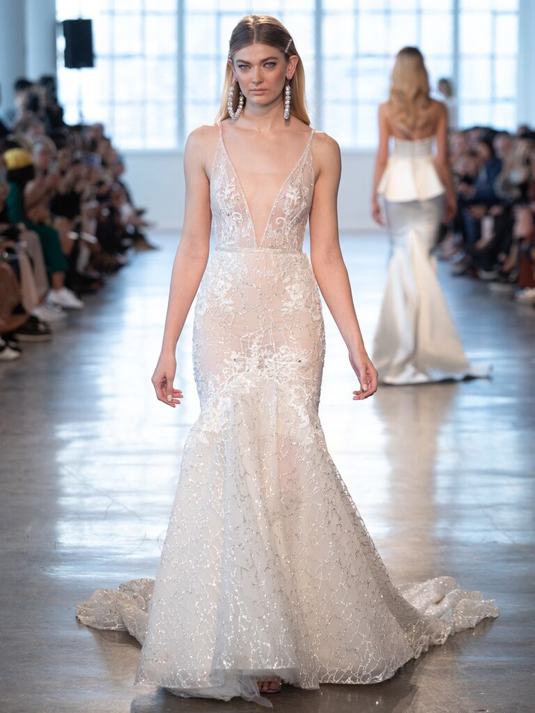 Berta Spring 2020 Bridal Collection sheer plunging fit-and-flare wedding dress