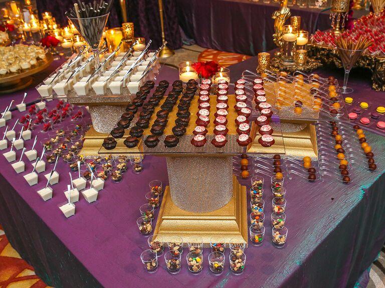 Fusion wedding reception dessert spread