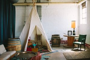 Rustic, Bohemian Teepee Cocktail Hour Seating