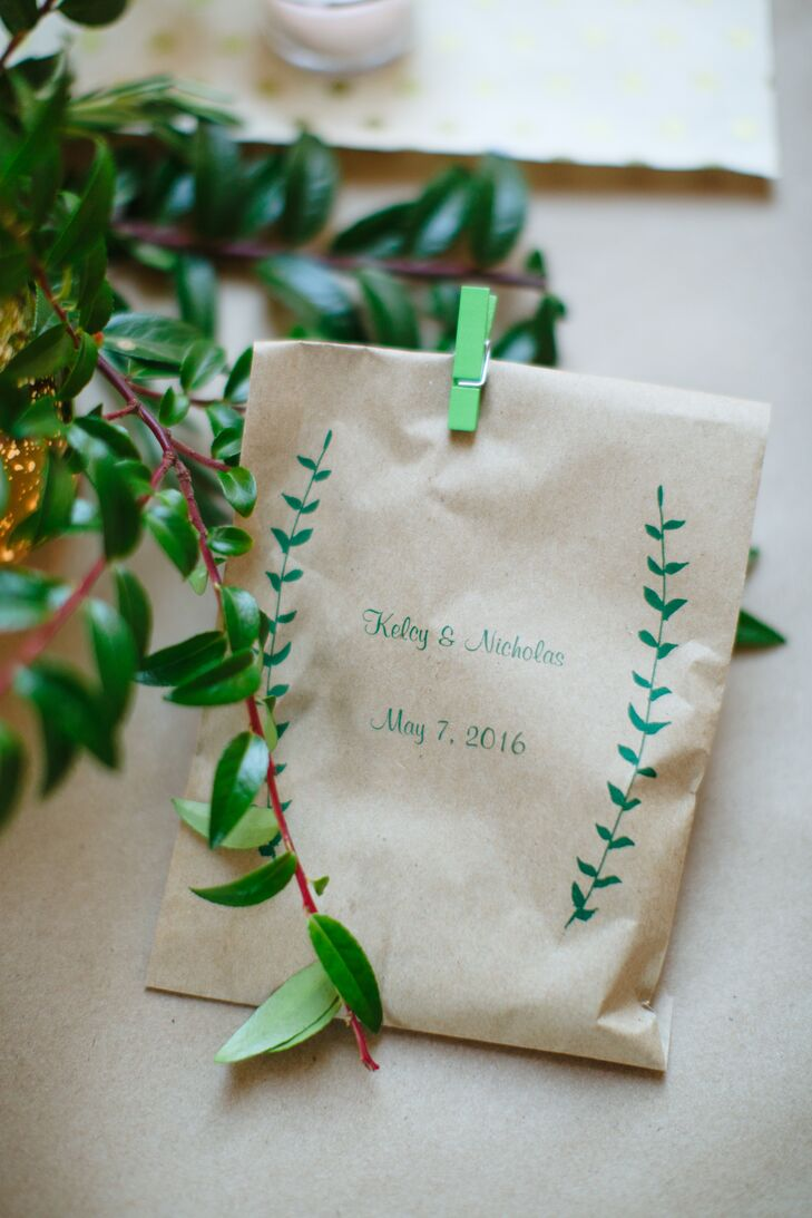 Wedding Favors in a Kraft Paper Sleeve