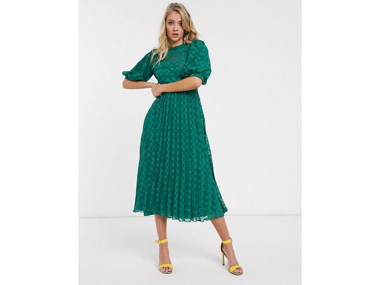 Green chevron winter wedding guest dress
