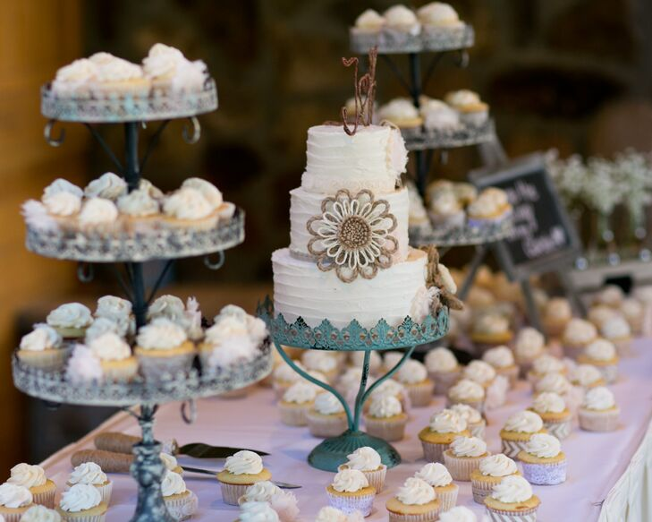 Aside from a traditional three-tier wedding cake, the newlyweds also treated guests to a dessert spread filled with cupcakes.
