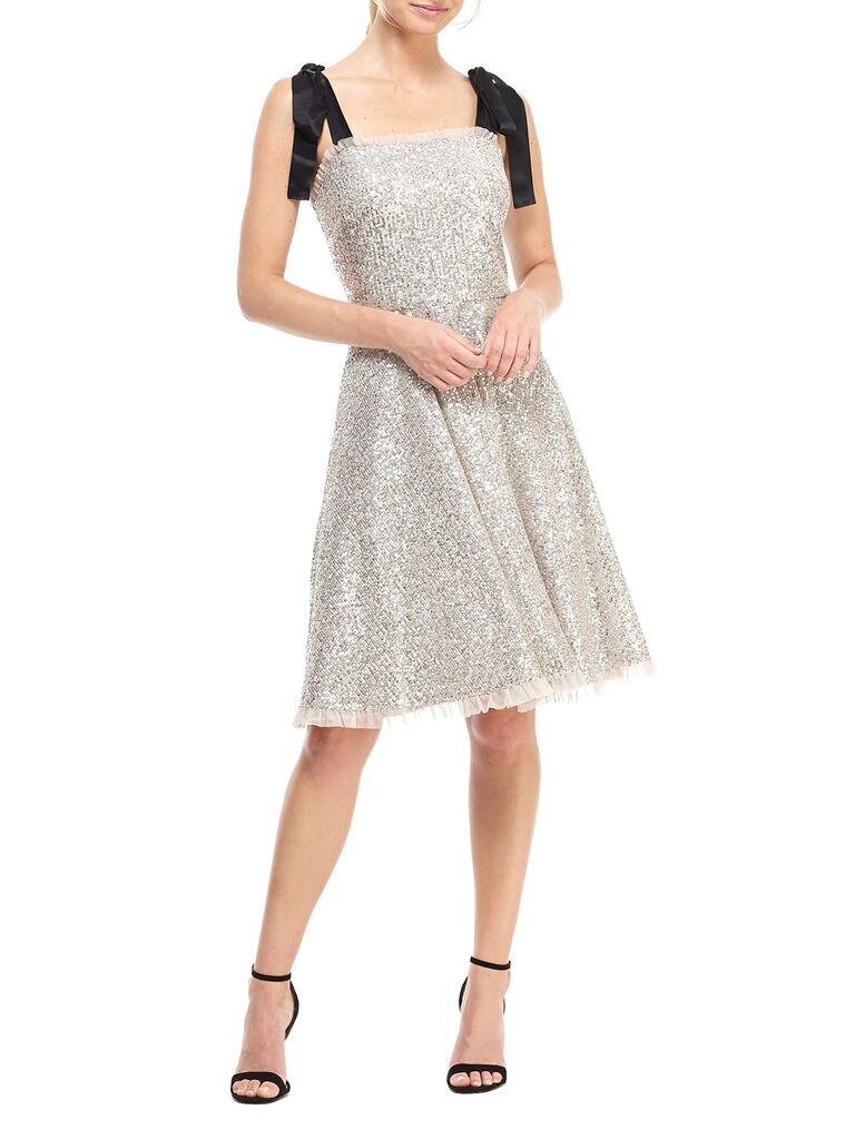Sequin tulle engagement party dress with bows