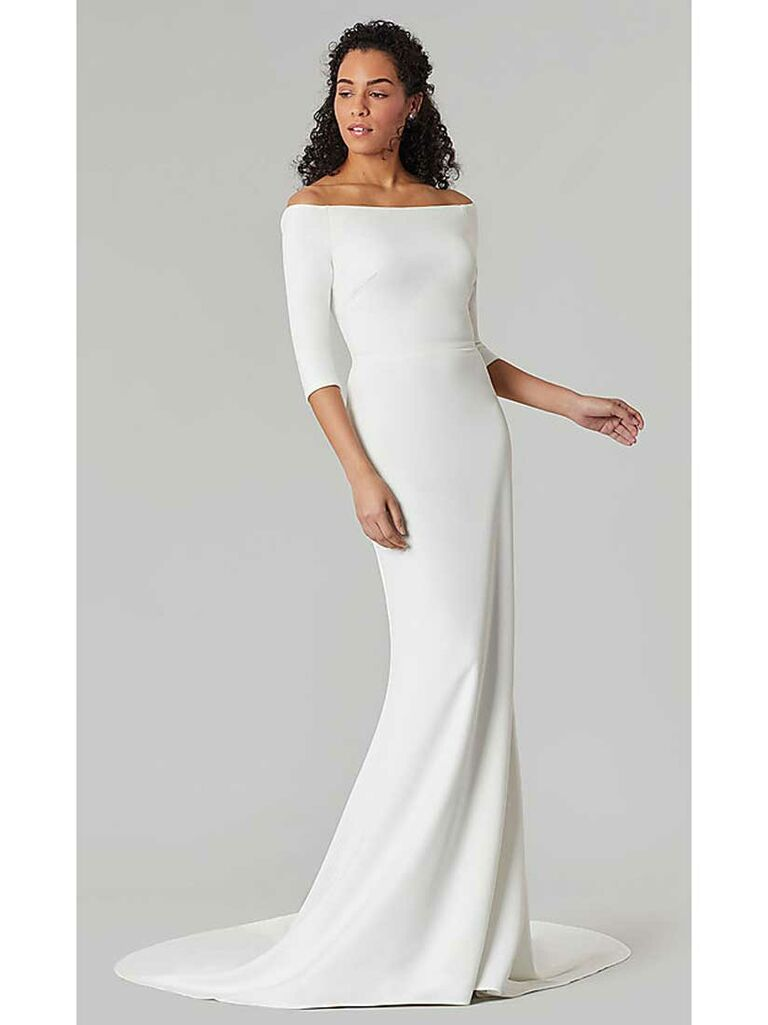 Simple off-the-shoulder wedding dress with three-quarter length sleeves
