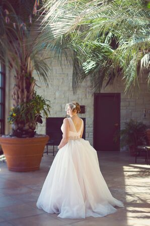 Pale Pink Ball Gown Dress with Birdcage Veil